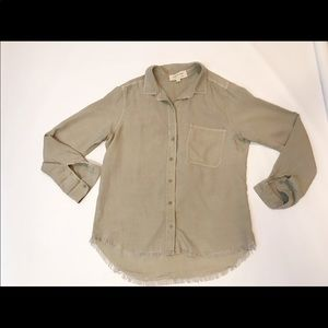 cloth and stone fringe bottom button down shirt
